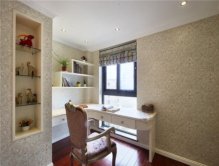 墙纸装饰简欧风格书房转角书桌设计图