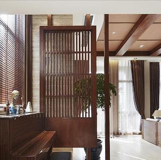 原生咖啡色复古美式复式家装隔断设计图