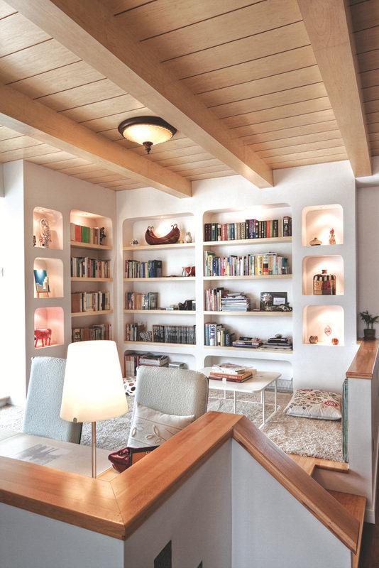 简欧复古风格跃层书房装修效果图