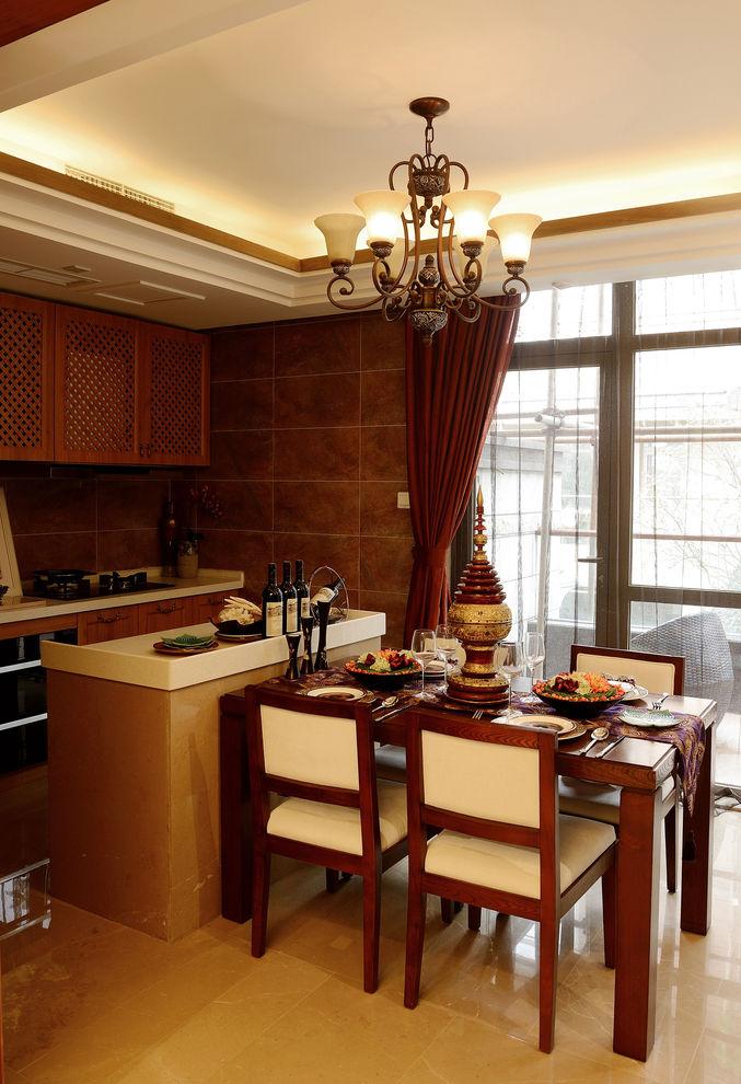 东南亚风格餐厨房吧台隔断设计图