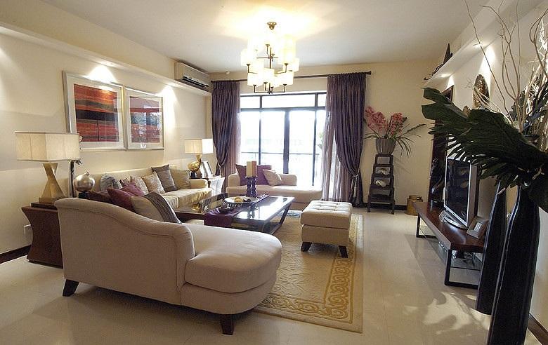 现代时尚中式风格三居客厅装饰效果图