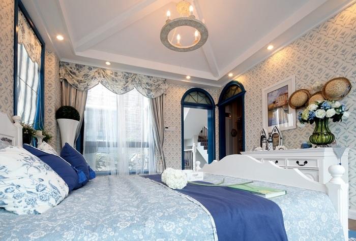 清凉地中海风格别墅卧室吊顶效果图