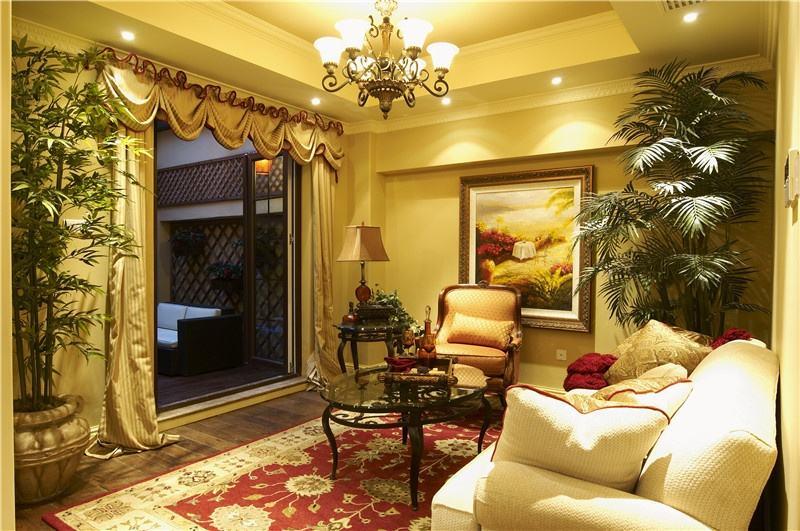 高贵复古欧式宫廷风客厅窗帘家装图片