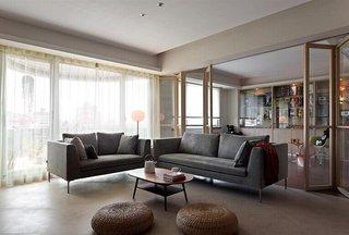 时尚简约客厅玻璃折叠门隔断装饰图