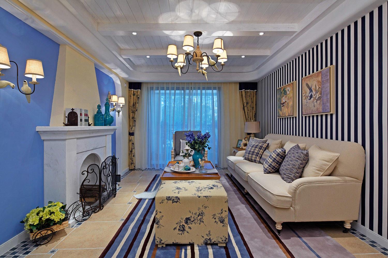 唯美蓝色简欧地中海装修客厅装饰大全