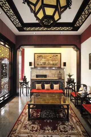 沉稳古典现代中式混搭别墅装修效果图