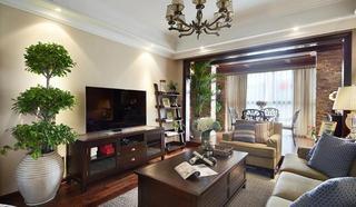 舒适沉稳复古美式风格三居装饰效果图