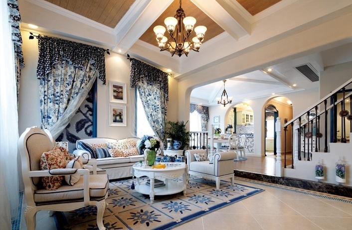 蓝白自然地中海风格别墅一楼室内设计装修案例图