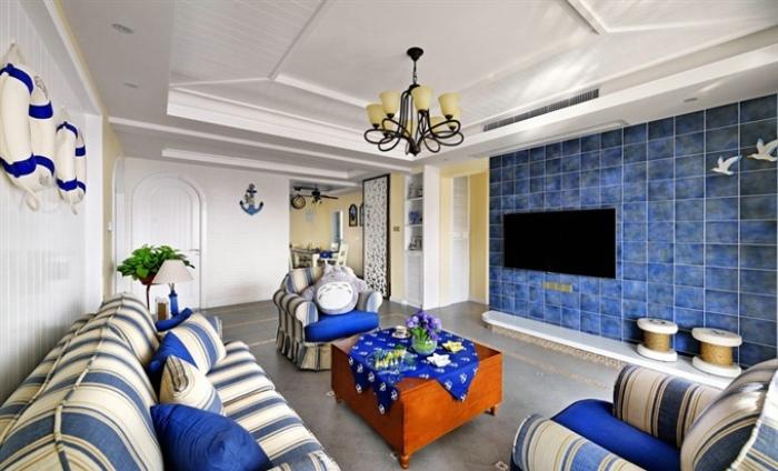 个性湖蓝地中海客厅电视背景墙装饰大全
