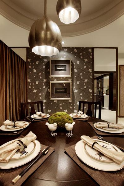 豪华新中式风格餐厅背景墙装饰效果图
