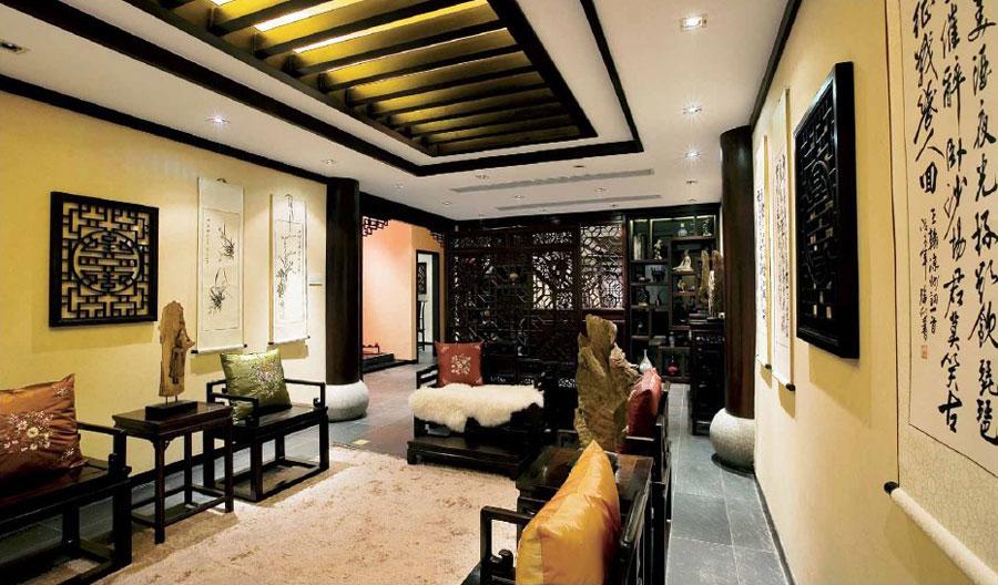 古典中式风格别墅家居黑檀装饰效果图