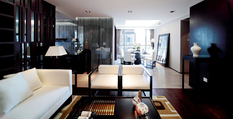 黑色摩登新中式风格三室两厅设计装潢图片