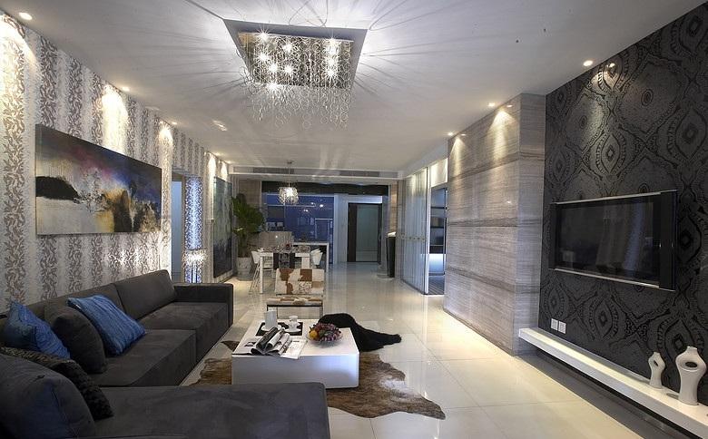 120平三居两厅现代精装吊顶效果图