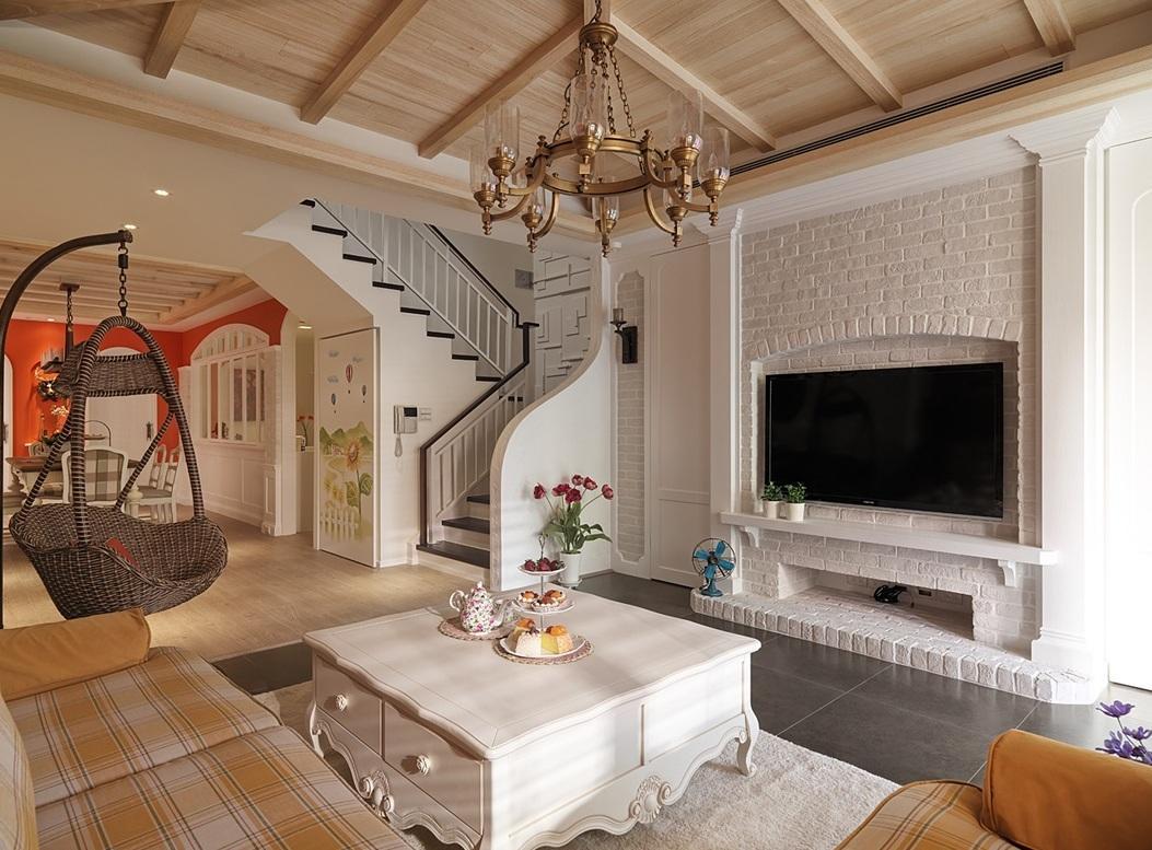 美式乡村风格复式白色文化砖电视背景墙效果图