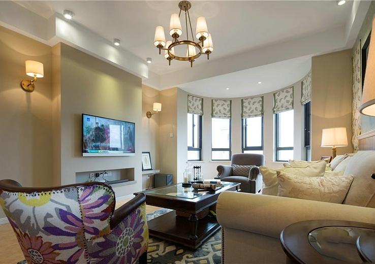 温馨美式装修风格客厅电视背景墙设计