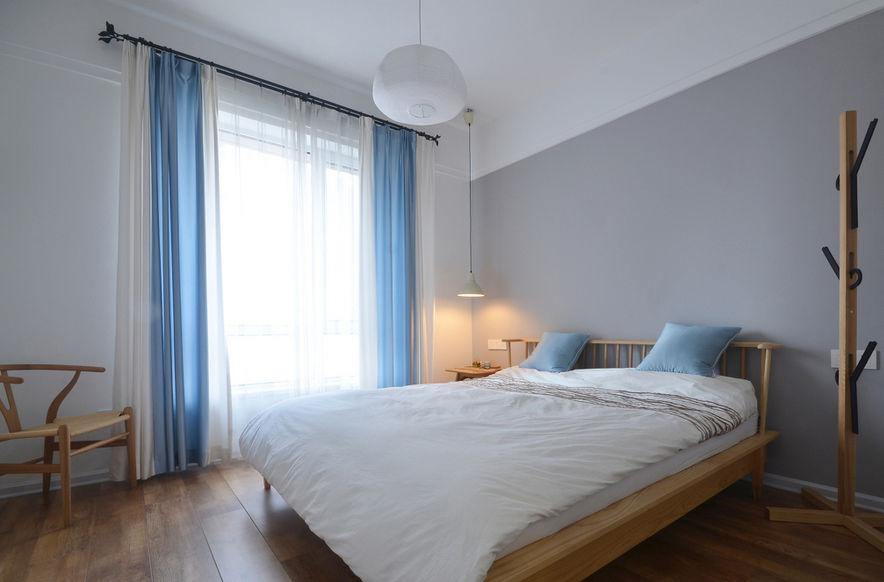 灰色时尚北欧风格卧室背景墙装潢效果图