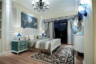 唯美地中海风格卧室窗帘效果图