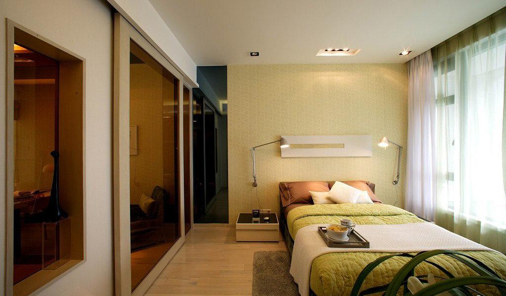 清新时尚现代卧室装潢效果图
