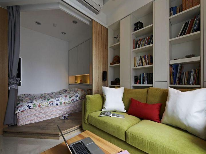 原木北欧小户型单身公寓卧室客厅隔断设计图