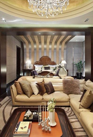 个性豪华现代风客厅不锈钢背景墙家装设计