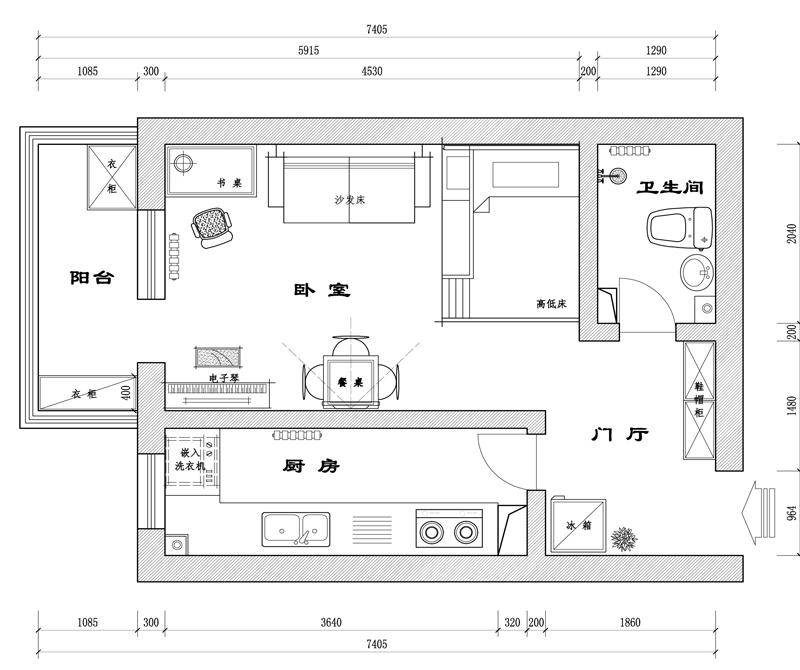 田园设计风格室内装饰平面效果图