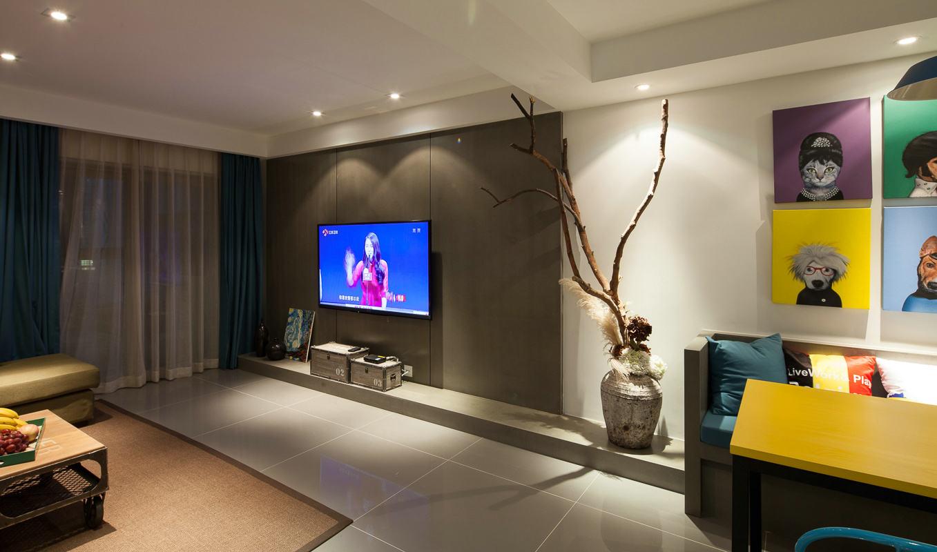 现代时尚客厅电视背景墙图片