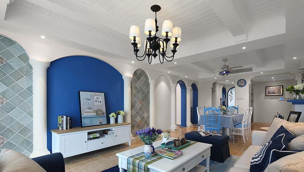 蓝色经典地中海风格三居室内装潢案例图