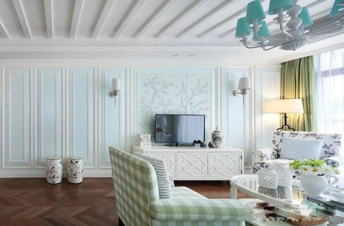 清新美式客厅浅绿色电视背景墙造型设计图