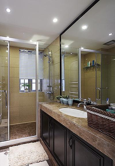美式现代风混搭卫生间干湿分区设计大全