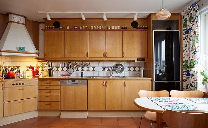 复古田园风格厨房实木橱柜图片大全