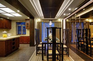 古典新中式风格餐厅吊顶效果图
