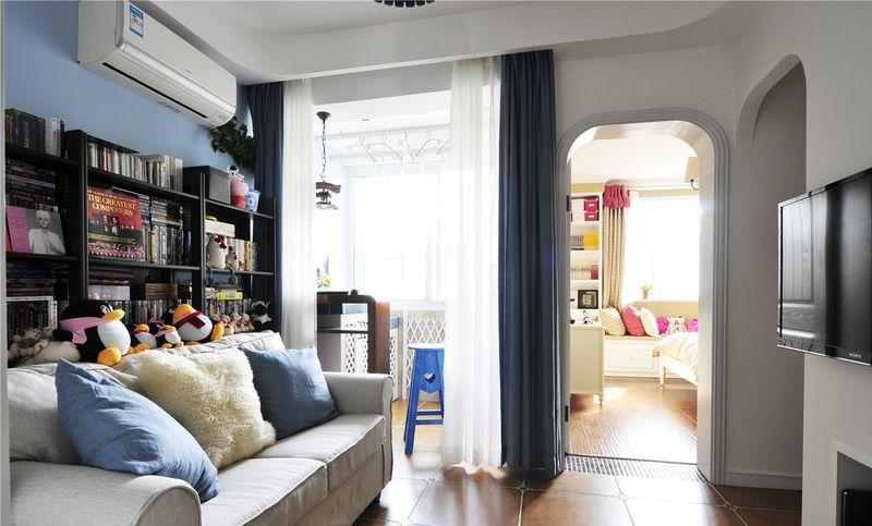 简约地中海小户型一居室室内隔断装修设计图