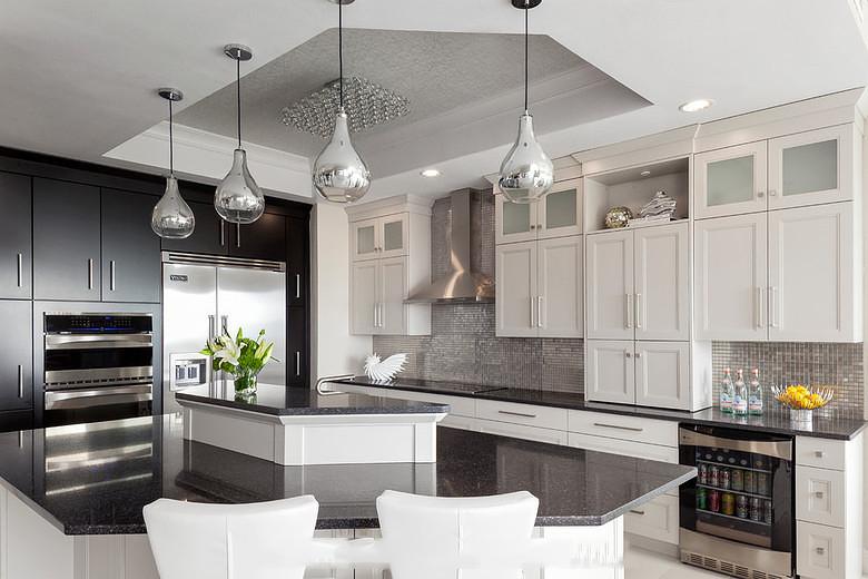 最新时尚现代厨房吧台大理石台面装饰效果图