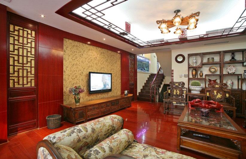 精致中式复式楼客厅红木电视背景墙图片