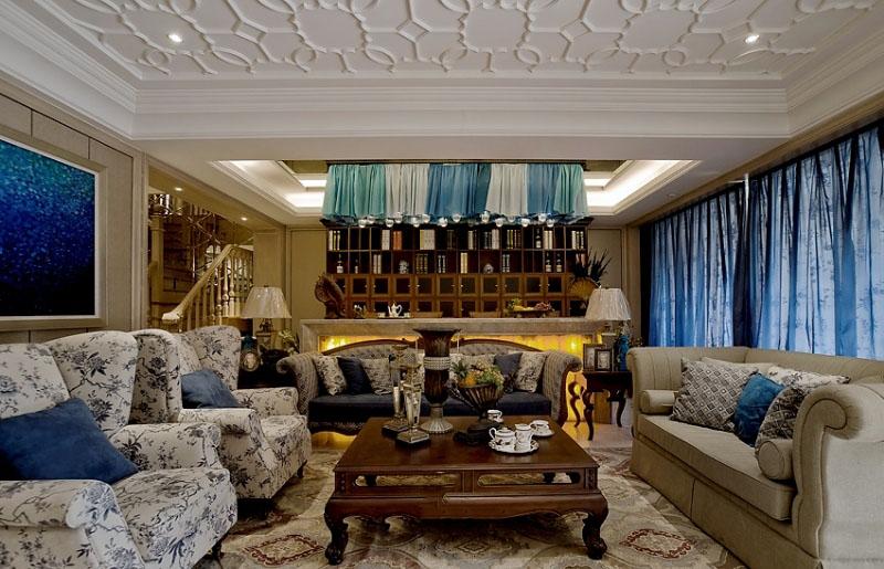 优雅复古美式地中海复式客厅装饰大全