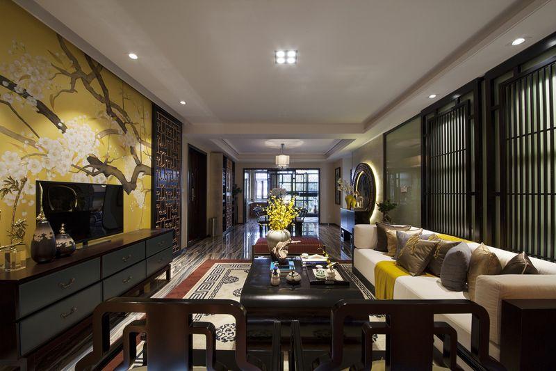黑色新古典中式风格别墅室内装潢案例图