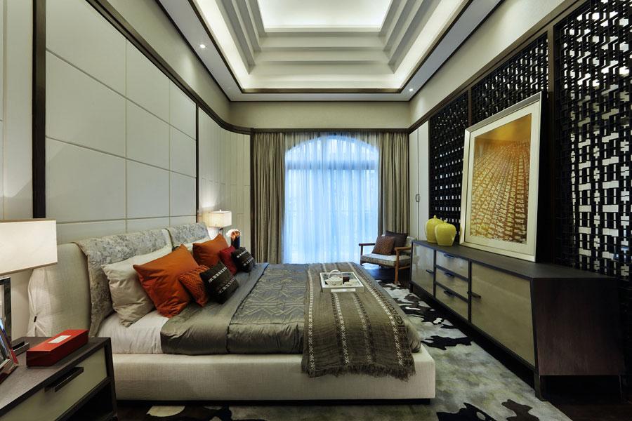 现代古典豪华别墅卧室吊顶设计图