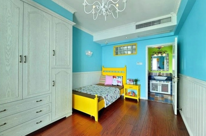 清新天蓝色美式田园家居儿童房装饰大全
