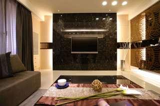 现代家装设计客厅大理石电视背景墙装饰效果图