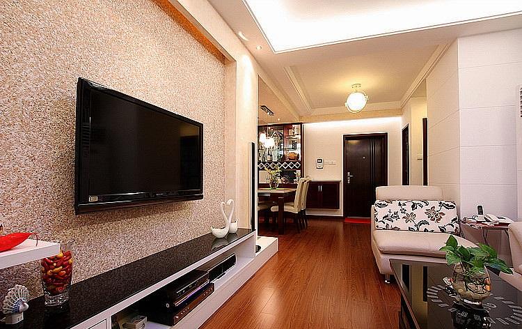 现代时尚家居客厅硅藻泥电视背景墙装饰图