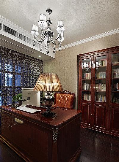 高端复古欧式家装实木书房效果图大全