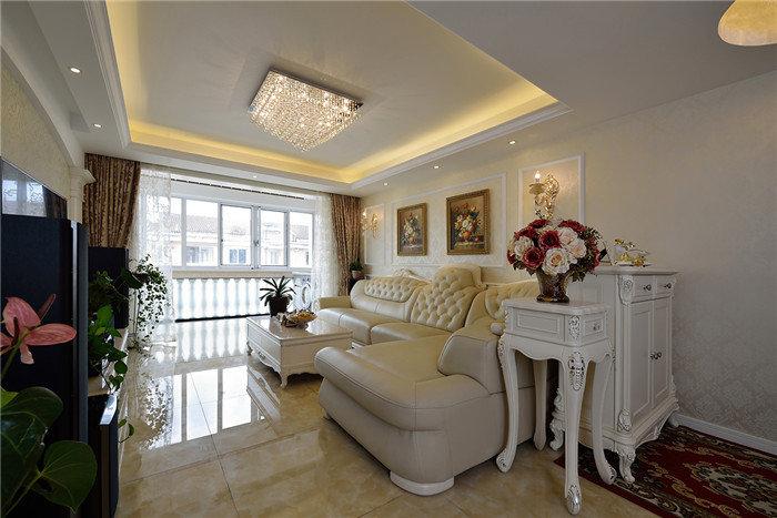 浪漫温馨简欧风格客厅沙发装饰效果图