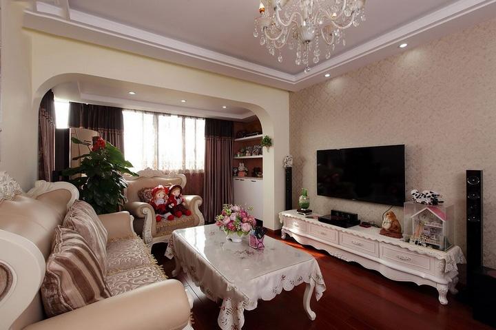 欧式田园风格客厅电视背景墙装修图片