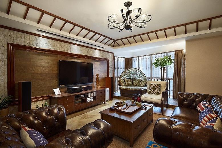 高端东南亚装修客厅实木电视背景墙大全
