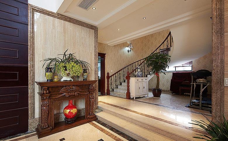 奢华高贵复古欧式家装玄关楼梯效果图