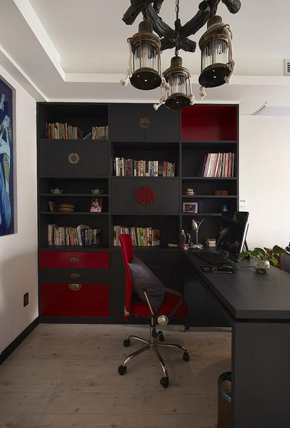 6平米仿古现代书房书柜设计图