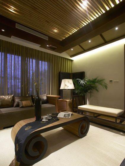 风情中式别墅客厅吊顶设计装修图