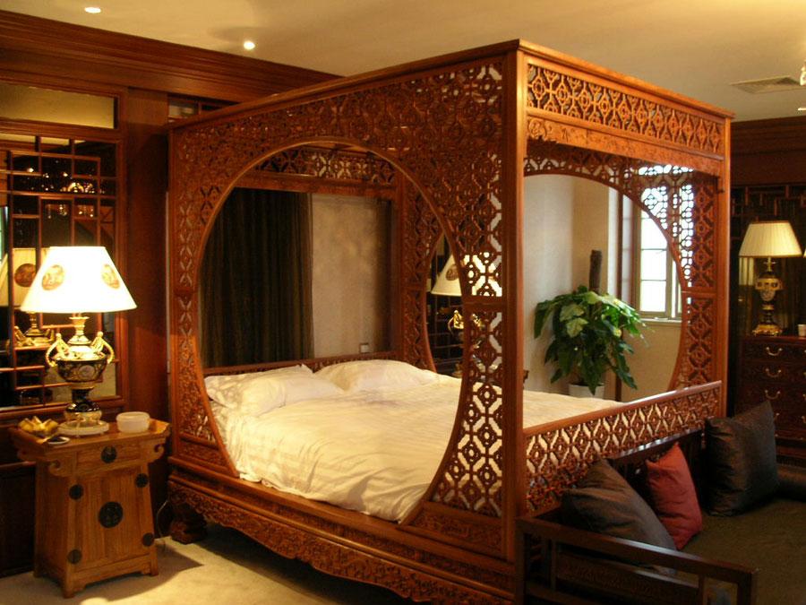 奢华精致复古中式卧室雕花床效果图