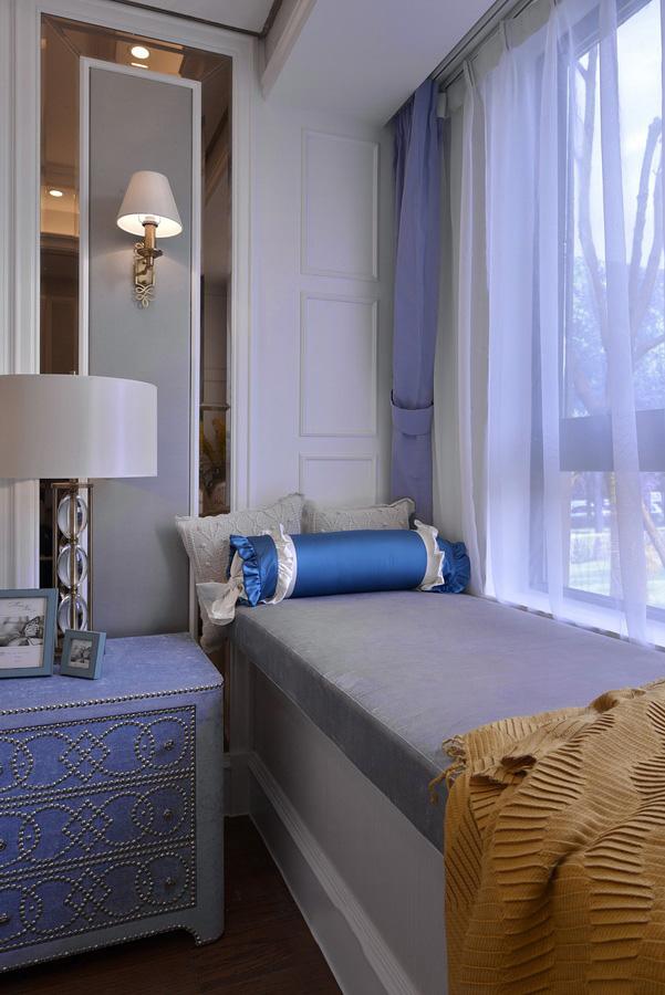 唯美浪漫美式家居飘窗紫色窗帘效果图