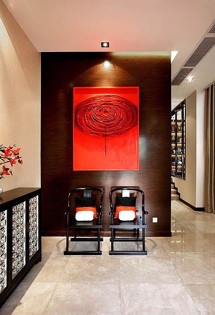 中式新古典家装玄关实木背景墙装饰设计